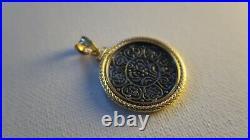 Excellent Condition 18k Yellow Gold Bezel Tibetan Tangka Silver Coin Pendant
