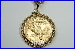 Extraordinary 1915 $10 Gold Indian Head Eagle Coin 24 14K Rope Necklace