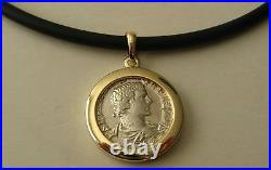 GENUINE 9K 9ct SOLID Gold FRAME ANCIENT SOLID SILVER ROMAN COIN Pendant