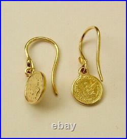 GENUINE SOLID 9K 9ct YELLOW GOLD SMALL 1899 COIN DANGLE EARRINGS