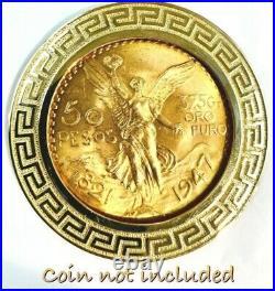 GOLD Bezel 50 pesos pendant 14k Santanari centenario coin frame SOLID mexic oro