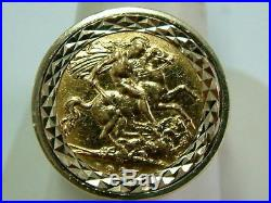 Gents 22ct Gold 1925 George V Half Sovereign Coin In 9ct Gold Ring Mount