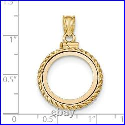 Genuine 14k Yellow Gold Casted Rope Screw Top 1/10 oz Panda Coin Bezel