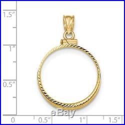 Genuine 14k Yellow Gold D/C Screw Top 1/4 oz American Eagle Coin Bezel