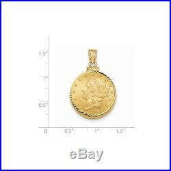 Genuine 14k Yellow Gold D/C Screw Top 5 Dollar Coin Bezel 22x32mm