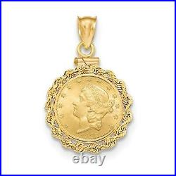 Genuine 14k Yellow Gold Rope Screw Top One 1 Dollar Coin Bezel