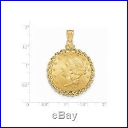 Genuine 14k Yellow Gold Rope Screw Top Ten 10 Dollar Coin Bezel