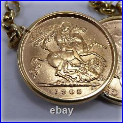 Genuine 1908 & 1914 Half-Sovereign Coins on 17 Necklet Holly Willoughby style