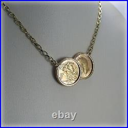 Genuine 1913 Georgian Half-Sovereign Coins on 18 Necklet Holly Willoughby style