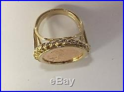 Genuine Indian Head 2 1/2 Dollar Gold Coin Ring Mounting 14k Gr 7.5