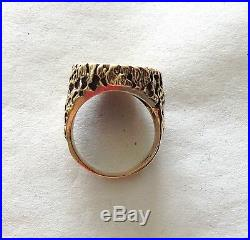 Genuine Indian Head 2 1/2 Dollar Gold Coin Vintage 14K Gold Men's Ring 14g sz 9