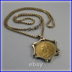 Genuine Victorian 1891 Full Sovereign Coin on 22 Gold Necklet