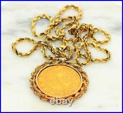 Gold 1897 20 Franc Coin 14kt Yellow Gold Pendant Necklace