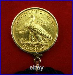 Gold 1913 $10 Indian Head Eagle Coin (1/2 oz. Gold) Pendant-14K Yellow Gold Bezel