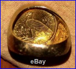 Gold $2.50, 1927 Coin on a Large. Beautiful 14k Yellow Gold Ring