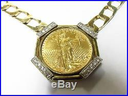 Gold Liberty Coin 1914 20 Dollars Framed in 14k Yellow Gold Necklace with Diamon
