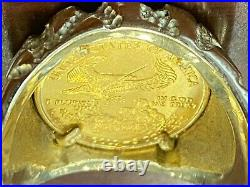 Gorgeous 14K Gold Men's Nugget Ring with 1/10 $5 22k Gold Eagle Coin Total 22gms