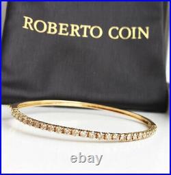 Gorgeous! $4700 ROBERTO COIN 18K Gold 1.35ct Champagne Diamond Bangle Bracelet