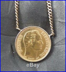 Great Gold Coin Necklace 1910 20 Bolivares In 18k Bezel Pendant On 18k Chain