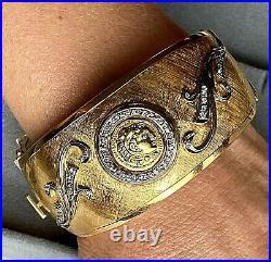 HUGE 18K Yellow Gold Diamond Vines Scrolls Antique Coin Bangle Bracelet 6.5