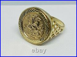 Hallmarked 375 9ct Genuine Yellow Gold St George Sovereign Coin Ring 18mm Size N