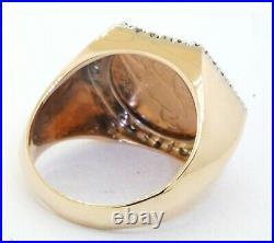 Heavy 14K gold. 80CT VS diamond enamel 1911 22K gold Indian head coin men's ring