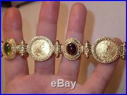 Heavy Designer 14k 22k gold 1/10 oz coin gemstone bracelet 7.5 38.7g Not scrap