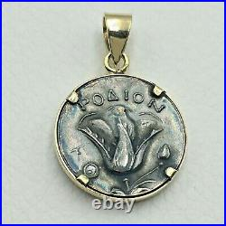 Helios God Of The Sun Coin Pendant 14k Solid Gold And 925 Sterling Silver