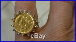 Ladies 14k $1 Us Gold Coin 50 Points Tw Diamond Coin Ring Sz 6 3/4