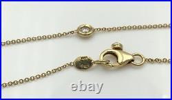 Ladies 18K Yellow Gold Designer Roberto Coin 7 Diamonds Bezel Set Necklace