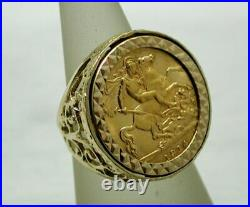 Ladies 1914 Half Sovereign Coin In A Lovely 9 carat Gold Ring Mount Size K