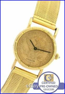 Ladies Corum 18K 750 Yellow Gold $5 Coin Liberty Head 1887 Half Eagle Watch