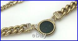 Ladies Estate Piece 18K Yellow Gold Ancient Coin Diamond Necklace Pendant