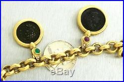 Ladies Italian 18K 750 Yellow Gold Multi Gemstone Diamond Coin Chain Necklace