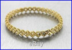 Ladies Roberto Coin 18K Yellow Gold Barocco Crisscross Bangle Bracelet 14.7gr