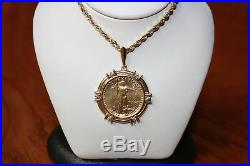 Lady Liberty $10 Coin pendant 1/4 oz fine gold in Bezel with Diamonds & Rope chain