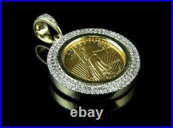 Lady Liberty Coin Diamond Charm Pendant 14k Solid Yellow Gold Over White Diamond