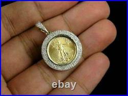 Lady Liberty Coin Diamond Charm Pendant 14k Yellow Gold Over White Diamond