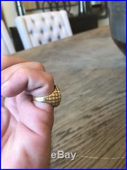 Large 14K round mens ring with a 1/10 krugerrand 1980 coin. Unique design heavy