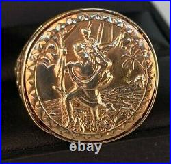 Large Men's Gents 9Ct Gold Ring RARE ST CHRISTOPHER COIN TYPE