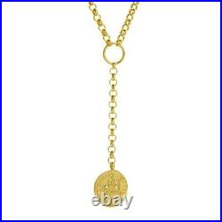 Lariat Necklace Rolo Chain 14K Solid Gold Adjustable Layering Coin Y Necklace