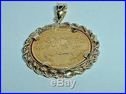 Liberty 1/10 Oz $5 Dollar Fine Gold Eagle Coin With 14k Gold Frame Pendant Charm
