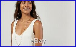 Long Station Necklace 14K Solid Gold Double Wrap Layered Disk Coin Necklace