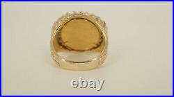 Men's 14k Gold Diamond Ring With 1/10oz 1988 Gold Liberty Coin
