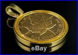 Men's 24K Large Canadian Elizabeth 1 OZ Coin VS Diamonds Pendant Charm 4.25ct
