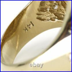 Men's Diamond Skull Liberty Coin Ring in 14k 22k Yellow Gold (1.00 ct tw)