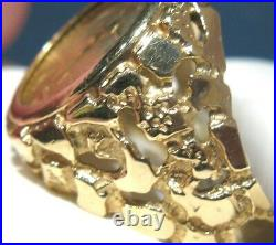 Men's Nugget 14kt Yellow Gold 1/10th oz American Eagle Coin Ring Size 10