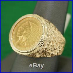 Mens Big 14k Yellow Gold 1913 $2 1/2 Dollar. 999 Indian Head Coin Ring Sz 10.75