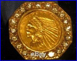 Mens Gold and Diamond Coin Ring