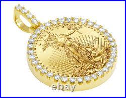 Mens Ladies 1 oz 24K Yellow Gold Liberty Coin Frame Diamond Pendant 3 1/2 Ct